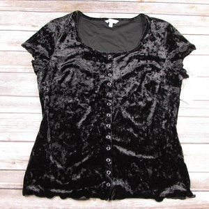 Candies Crushed Velvet Body Con Snap Front Top L